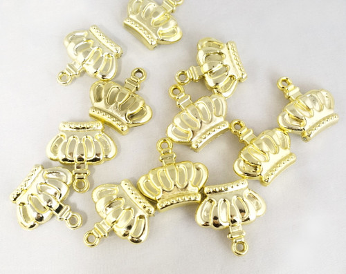 "1"" Gold Plastic Crown Pendant Charm - Pack of 144"
