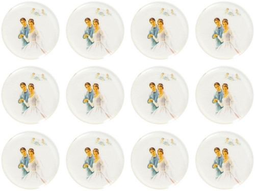 "1.1"" Round Soft Silicon Wedding Couple Sticker - Pack of 200 Stickers"