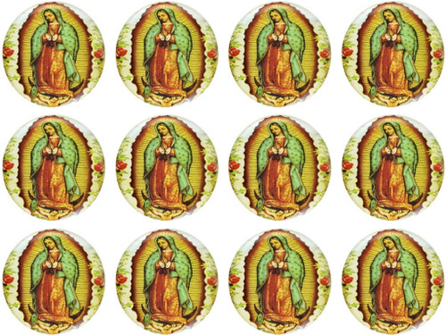 "1.1"" Round Soft Silicon Guadalupe Sticker - Pack of 200 Stickers"