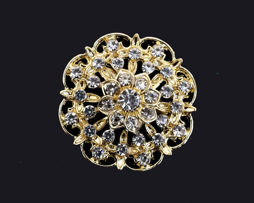 "1 1/4"" Gold Round Fashion Brooch Pin - Pack of 12"