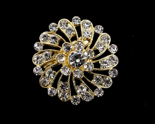 "1 1/4"" Gold Round Fashion Brooch Pin - Pack of 12 (BHB011)"