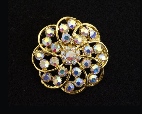 """1.5"""" Gold Round Fashion Brooch Pin with Iridescent Rhinestones - Pack of 12 (BHB002)"""