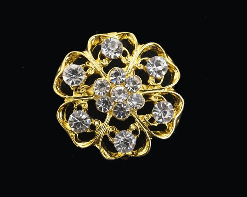 "1 1/4"" Gold Round Fashion Brooch Pin - Pack of 12 (BHA005)"