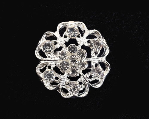 "1 1/4"" Round Silver Fashion Brooch Pin   - Pack of 12 (BHA005)"