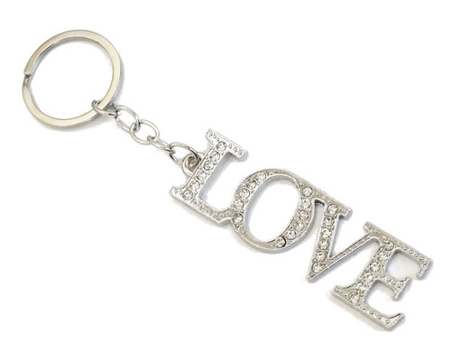 "4"" Silver LOVE Crystal Rhinestone Keychain - Pack of 12"