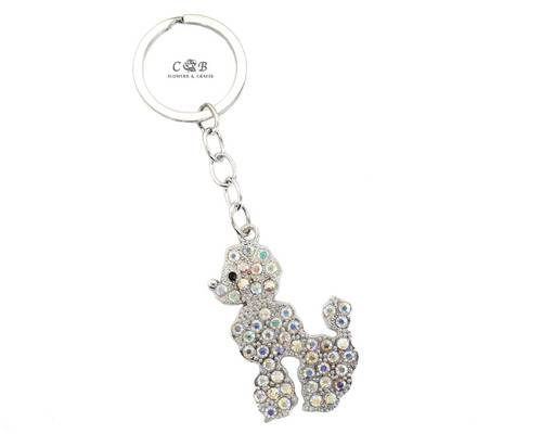 "4"" Silver Crystal Rhinestone Poodle Dog Keychain - Pack of 12"