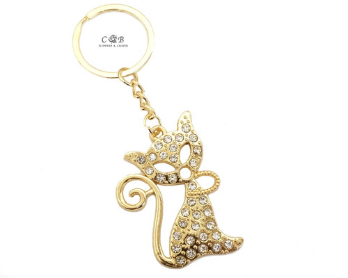 "4"" Gold Crystal Rhinestone Cat Keychain - Pack of 12"