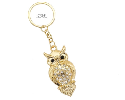 "4"" Gold Crystal Rhinestone Owl Keychain - Pack of 12"