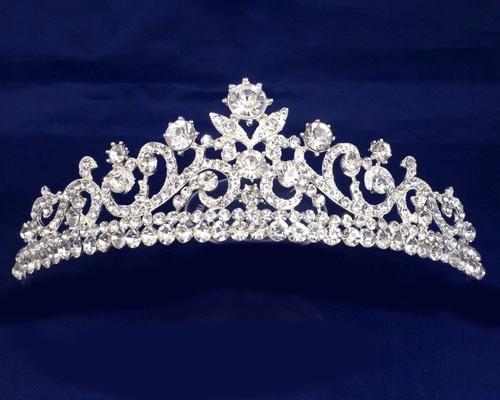 Silver Crystal Rhinestone Tiara (TN094)