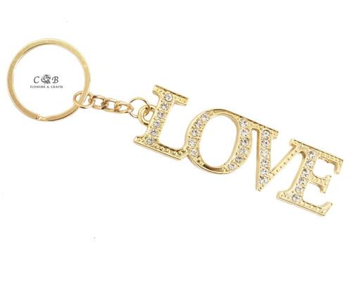 "4"" Gold LOVE Crystal Rhinestone Keychain - Pack of 12"