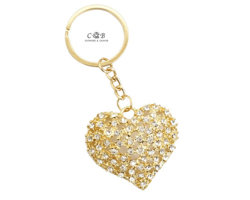 "4"" Golden Heart Crystal Rhinestone Keychain - Pack of 12"