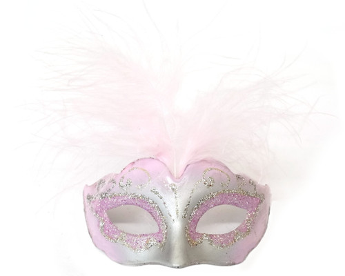 "3.5"" Pink/Silver Feathered Mini Masquerade Masks - Pack of 72"