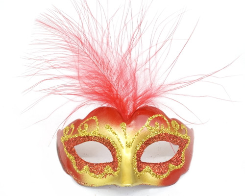 """3.5"""" Red/Gold Feathered Mini Masquerade Masks - Pack of 72"""