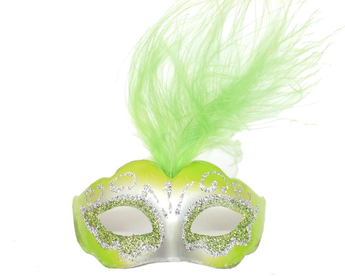 """3.5"""" Green/Silver Feathered Mini Masquerade Masks - Pack of 72"""