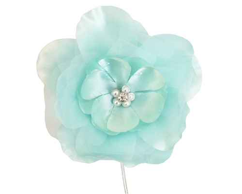 "4.5"" Aqua Large Silk Flowers with Rhinestone - Pack of 12 Pieces"