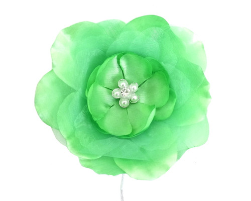 "4.5"" Mint Large Silk Flowers with Rhinestone  - Pack of 12 Pieces"