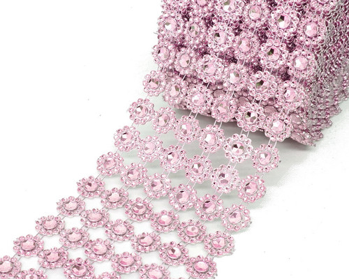 "4"" x 10 yards (30ft) Pink Flower Mesh Wrap"