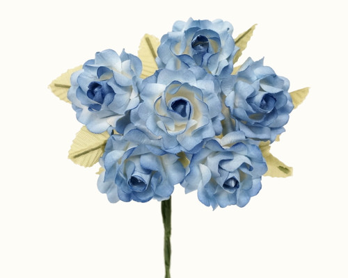 "1"" Two Tone Blue Big Rose with Leaf Paper Craft Flowers - Pack of 72"