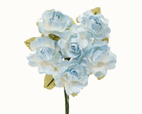 """1"""" Two Tone Light Blue Big Rose with Leaf Paper Craft Flowers - Pack of 72"""