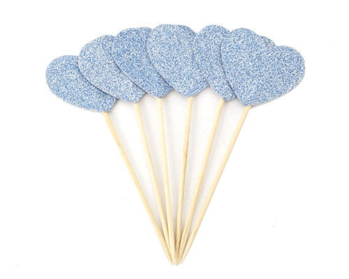 Blue Glitter Heart Cupcake Topper - Pack of 120 Pieces