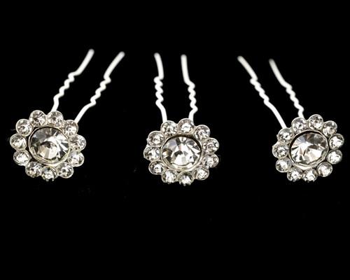 Silver Bridal Crystal Rhinestone Flower Hair Pin - Pack of 72 Bobby Pins