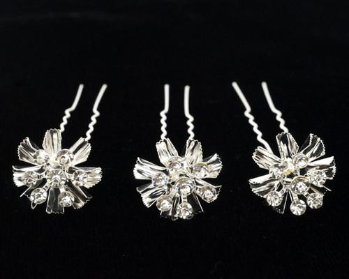 Silver Bridal Metallic Rhinestone Flower Hair Pin - Pack of 72 Bobby Pins