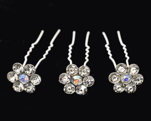 AB Silver Bridal Crystal Rhinestone Flower Hair Pin - Pack of 72 Bobby Pins