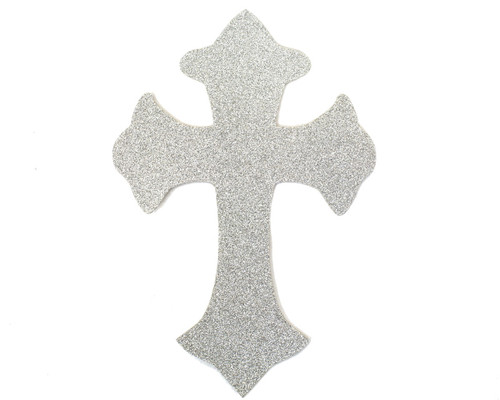 "11"" x 7.5"" Silver Decorative Glitter Foam Cross Cutouts - Pack of 12"