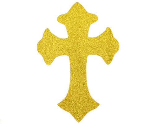 "11"" x 7.5"" Gold Decorative Glitter Foam Cross Cutouts - Pack of 12"