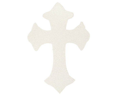 "11"" x 7.5"" White Decorative Glitter Foam Cross Cutouts - Pack of 12"