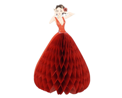 "5.5"" Red Quinceanera Paper Doll Favor - Pack of 12"