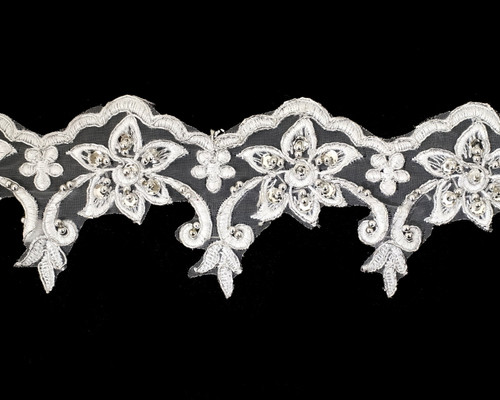 """3"""" x 15 Yards White Venice Floral Lace Trim with Silver Sequins"""