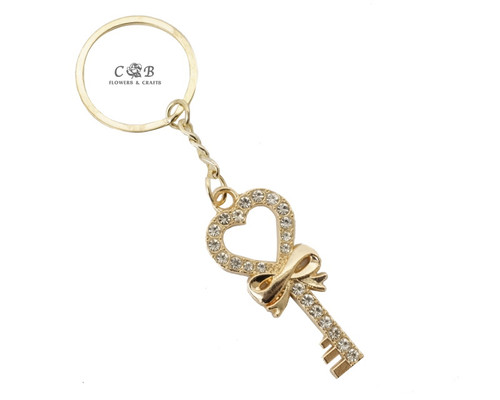 "4"" Gold  Key with Bow Crystal Rhinestone Keychain - Pack of 12"