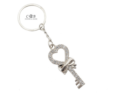 "4"" Silver Key with Bow Crystal Rhinestone Keychain - Pack of 12"
