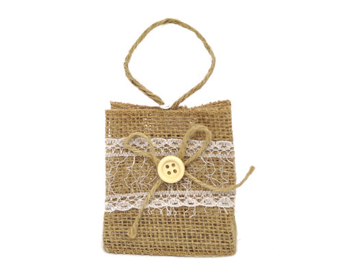 "3"" Rustic Burlap Lace Favor Purse with Burlap Twine Bow - Pack of 12  Bags"