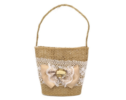 "3"" Rustic Burlap Lace Favor Purse with Satin Ribbon Bow - Pack of 12  Bags"