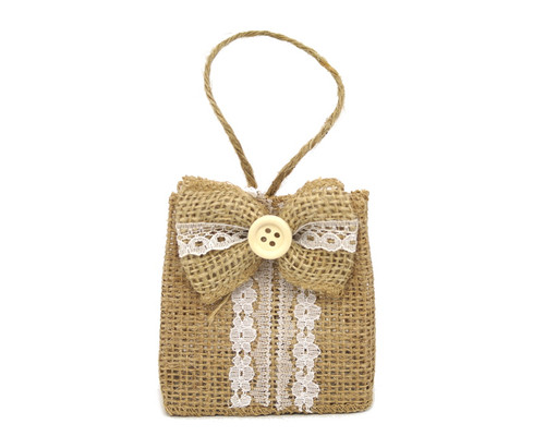 "3"" Rustic Lace Favor Purse with Burlap Bow - Pack of 12  Bags"