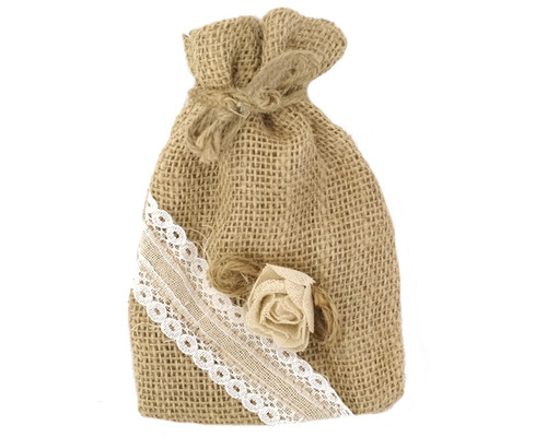 "4"" x 5 3/4"" Rustic Lace Favor Pouch Bags - Pack of 12  Bags"