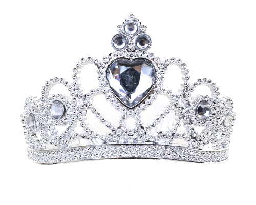 Silver Jeweled Tiara Party Favor - Pack of 12 Plastic Crowns