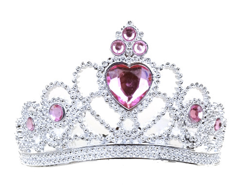 Pink-Silver Jeweled Tiara Party Favor - Pack of 12 Plastic Crowns