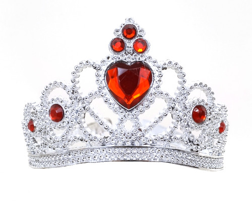 Red-Silver Jeweled Tiara Party Favor - Pack of 12 Plastic Crowns