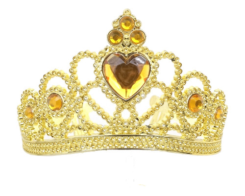 Gold Jeweled Tiara Party Favor - Pack of 12 Plastic Crowns