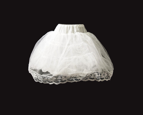 """19"""" Long Girl White Tulle Lace Edge Wedding Petticoat - 1 Bone Hoop Slip Skirt"""