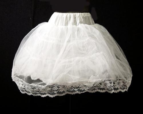 """23"""" Long Girl White Tulle Lace Edge Wedding Petticoat - 1 Bone Hoop Slip Skirt"""