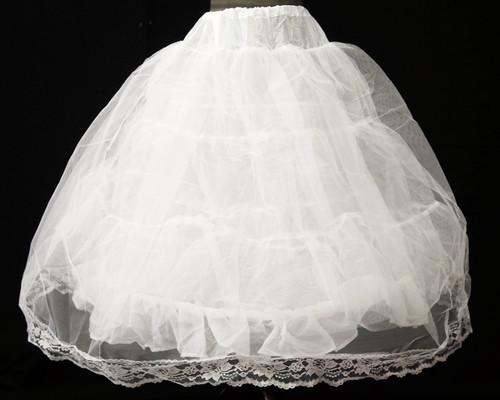 """30"""" Long Girl White Tulle Lace Edge Wedding Petticoat - 1 Bone Hoop Slip Skirt"""