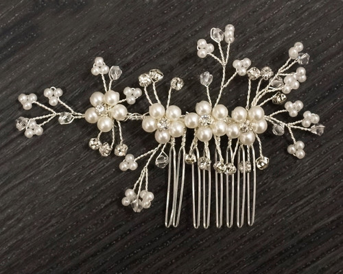 "4"" Silver Bridal Spray Hair Comb with Rhinestone and Pearl  - 1 Headpiece"