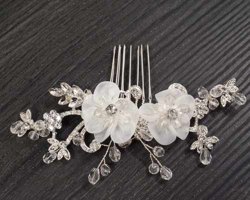 """4.75"""" Silver Bridal Spray Hair Comb with White Blooms and Crystal Pave Leaves  - 1 Headpiece"""