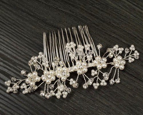 """5"""" Silver Bridal Spray Hair Comb with Rhinestone and Pearl  - 1 Headpiece"""
