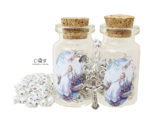 "1.75"" White Cork Glass Bottle Rosary Favors - Pack of 12 Baptism Favors"