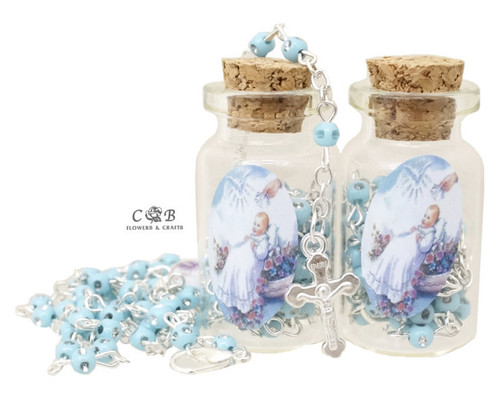 "1.75"" Blue Cork Glass Bottle Rosary Favors - Pack of 12 Baptism Favors"